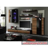 Nappali bútor, LED világítással, szilva/fekete extra magas fény HG, CANES New