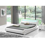 Modern ágy RGB LED világítással, fehér, 180x200, FILIDA
