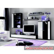 Nappali bútor, LED világítással, fehér/fekete extra magas fény HG, CANES New