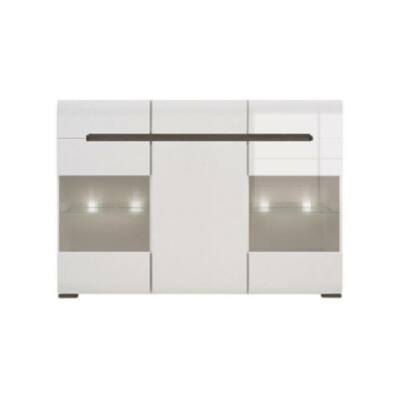Azteca system KOM2W1D3S/10/15 vitrines komód LED világítással magasfényű fehér ajtós szekrény