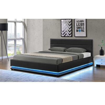 Franciaágy LED világítással, fekete, 160x200, BIRGET