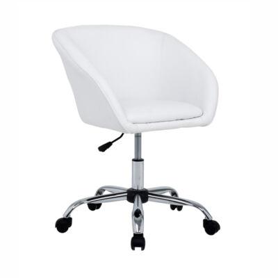 T-Irodai szék, fehér ekobőr+fém, LENER