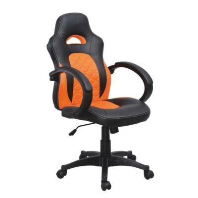 T-Irodai szék, fekete textilbőr/narancssárga textilbőr, NELSON
