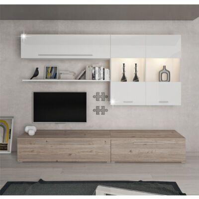 Sofi modern magasfényű fehér szekrénysor