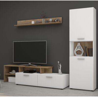 Nappali bútor, fehér/tölgy lancelot, SKARLET