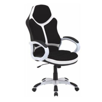 T-Irodai szék, fekete/fehér textilbőr, ARETAS