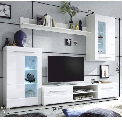 Henri extra magasfényű fehér ajtós nappali szekrénysor